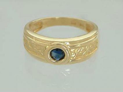 Breiter Goldring - Ring Gold 585 mit Saphir - Damenring - Saphirring Solitärring