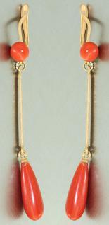 6 cm lange Ohrhänger Gold 750 mit Korallen Korallenohrhänger Ohrringe 18 Kt.