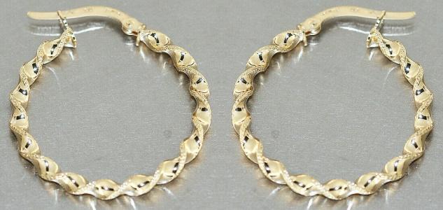 Creolen Gold 585 Ohrringe gedreht 14 Karat Damen Ohrschmuck 2, 6 cm - Vorschau 2