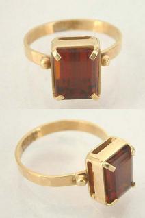 Klassischer Ring Gold 750 mit Zitrin Goldring 18 Kt Damenring Solitärring Citrin