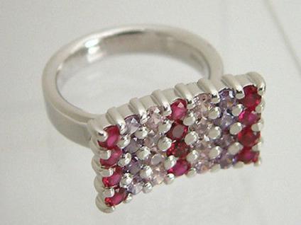 Massiver Silberring 925 großer Ringkopf mit bunten Zirkonias Ring Silber