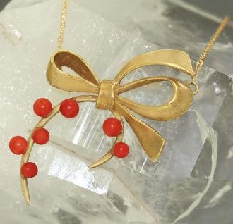 Zauberhaftes Collier Gold 750 mit Korallen - Goldkette - Halskette Kette Koralle