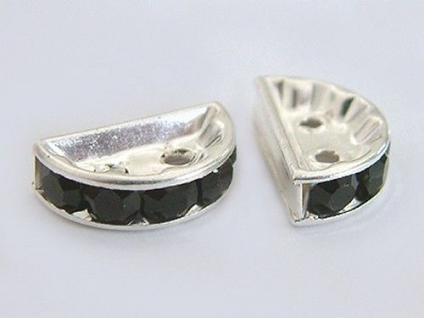 10 Stück silberne Zwischenteile mit schwarzen Zirkonias Zierteile für Ketten