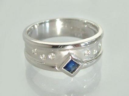 Breiter Weißgoldring 585 - Brillantring mit Saphir - Ring Weißgold - 14 kt Gold