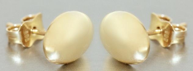 Ohrstecker Gold 585 ovale Ohrringe Damen Herren Ohrschmuck 14 Karat