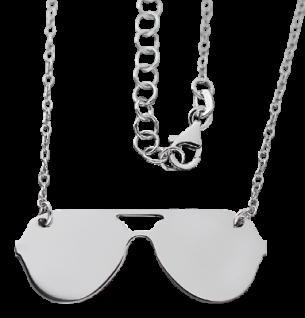 Originelle Silberkette 925 mit Brille Kette Silber 925 rhodiniert Collier