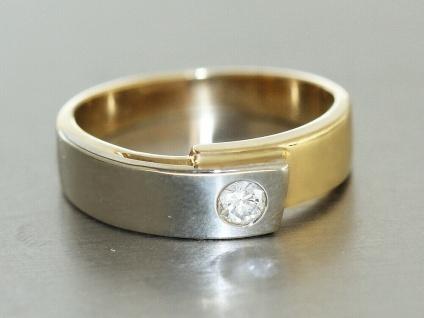 Ring Gold 585 bicolor 14 kt mit Brillant 0, 2 ct Brillantring RW 55 Goldring - Vorschau 2
