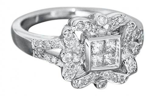 Brillantring Weißgold 750 Ring 0, 38 ct. Brillanten Damenring RW 51Luxus pur