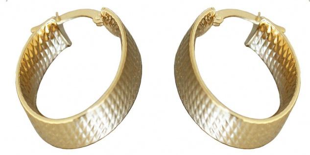 Creolen Gold 585 ovale breite Ohrringe Struktur 14 Karat Ohrschmuck 24 x 7 mm