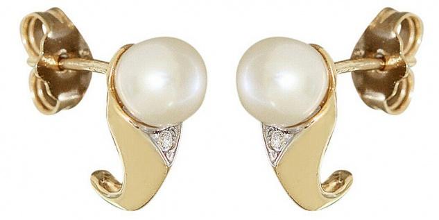 Perlen Ohrstecker Gold 585 Zirkonias Ohrringe Perle 14 Kt. Ohrschmuck