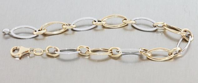 Armband Gold 585 bicolor Armkette Damen 21 cm Gelbgold Weißgold 14 Kt Karabiner