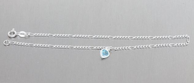 Massives Fußkettchen Silber 925 Herz Anhänger Zirkonia hellblau Fußkette