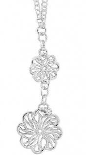 Silberkette 925 Blumen Anhänger Collier Halskette Erbskette massiv Karabiner
