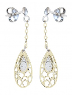 Ohrhänger Gold 585 bicolor langer Ohrschmuck Ohrstecker Tropfen Ohrringe Damen