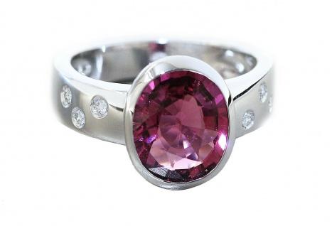 Ring Weißgold 585 Brillanten pink Turmalin 3, 19 ct. Brillantring 0, 12 ct. Damen