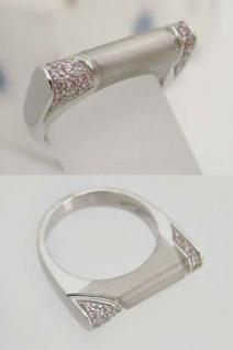 Massiver Weißgoldring 585 mit pink Zirkonias Ring 14 kt Weißgold Damenring Gold