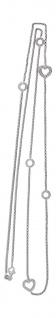 87 cm lange Silberkette 925 rhodiniert mit Dekorgliedern Herz Halskette Silber