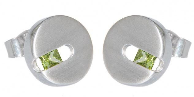 Ohrstecker Silber 925 Peridot Ohrringe rund Ohrschmuck Scheiben