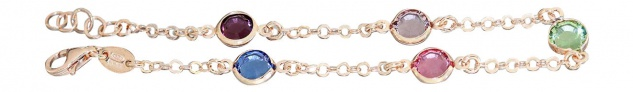 Armband Silber 925 bunte Zirkonias - Rosegold Armkette Silberarmband multicolor