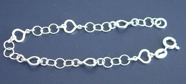 Massives Silberarmband 925 - Armband mit Herzen - Armkette Silber - Silberkette