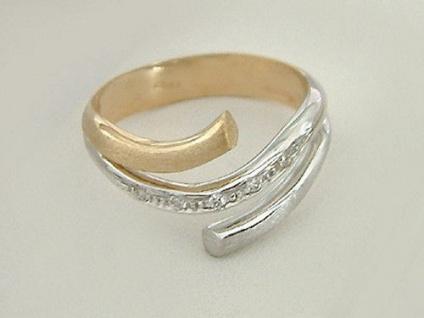 Moderner Ring in Zweifarbengold 585 mit Brillanten - Brillantring edler Goldring