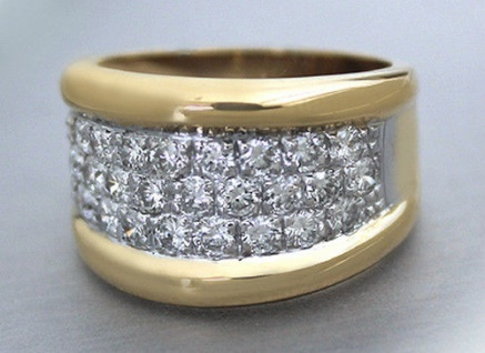 Schwerer breiter Goldring 750 mit Zirkonias - Ring Gold 11 gr. - Damenring 18 kt