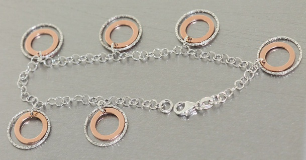 Elegantes Silberarmband 925 - Armband Silber Rotgold - Armkette - Damenarmband