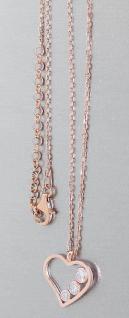 Silberkette mit Herz Anhänger Silber 925 Rotgold Kette Collier mit Zirkonias
