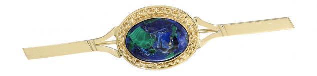 Edle Brosche Gold 750 mit Azurit Cabochon wunderschöne Goldbrosche 18 Karat