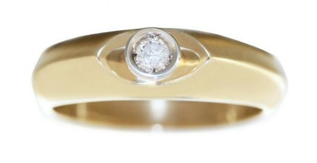 Solitär Ring Gold 585 mit Brillant 0, 09 ct. Diamantring RW 56 Goldring Damen