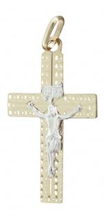 Kreuz Gold 585 mit Korpus - Anhänger Goldkreuz 14 kt edler Goldanhänger bicolor
