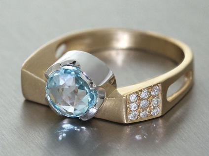 Designerring Gold 585 Topas und Brillanten Ring 14 Kt Gold Brillantring Goldring