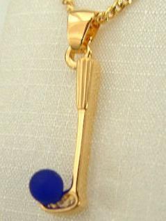 Golf Schmuckset Gold pl Kette u. Anhänge Golfschläger - Goldkette pl Panzerkette