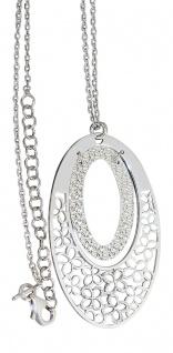Silberkette 925 mit Anhänger Silber Kette Collier mit Blumen ovaler Anhänger