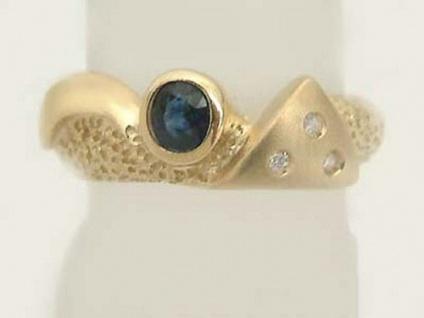 Goldring 585 mit Brillanten und Saphir - moderner Brillantring - Ring Gold 14 kt