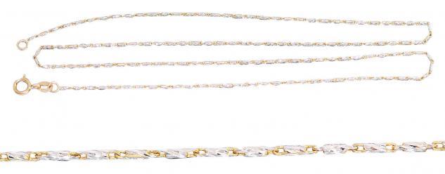 42 cm feine massive Goldkette 585 bicolor - Kette Gold - Fässchenkette Halskette