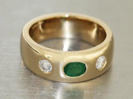 Allianzring Gold 585 Goldring mit Brillanten und Smaragd klassischer Goldring
