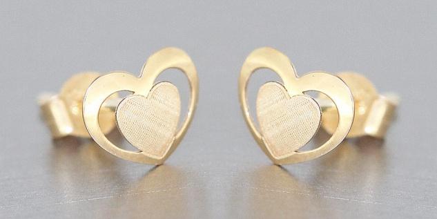 Kleine Herz Ohrstecker Gold 585 Kinder Ohrringe Herzen Stecker Gelbgold 14 Karat - Vorschau 2