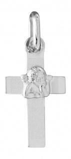Kleines Kreuz mit Schutzengel Gelbgold oder Weißgold 585 Anhänger 14 Karat