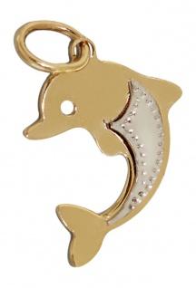 Delfin Anhänger Gold 585 - Goldanhänger Zweifarbengold - Golddelfin WG GG 14 kt