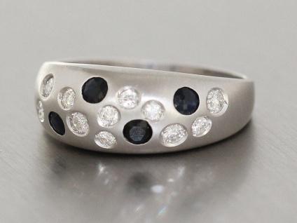 Ring Weißgold 585 Brillanten Saphire Brillantring 0, 30 ct. Gold Damen WG 14 Kt. - Vorschau 3