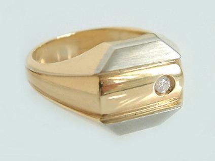Herrenring Gold 585 mit Brillant 0, 06 ct. - massiver Goldring Brillantring Ring - Vorschau