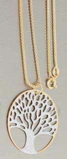 Kette und Anhänger Lebensbaum Silber 925 diamantiert bicolor Gold Silberkette