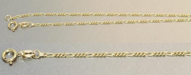 45 cm feine massive Goldkette 585 Figarokette Halskette Kette Gold 14kt massiv