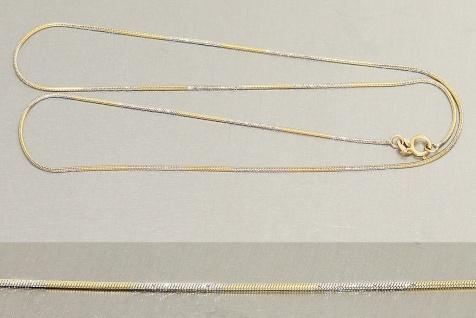 Schlangenkette in Zweifarbengold 585 - 42 cm Goldkette - Halskette Gold massiv
