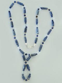 Modische Kette aus Sodalith Bergkristall und Silber 925 Edelsteinkette Collier