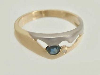 Ring in Zweifarbengold 585 mit Brillant und Saphir - Goldring Brillantring Gold