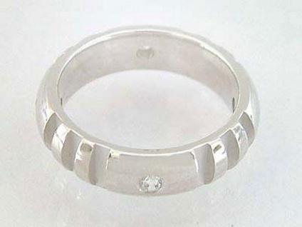 Kraftzentrum Ring - massiver Silberring 925 - Bandring echt Silber mit Zirkonias