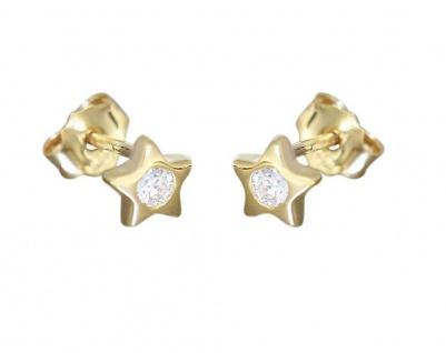 Stern Ohrstecker Gold 585 Kinder Ohrringe Sternchen 14 Karat mit Zirkonias