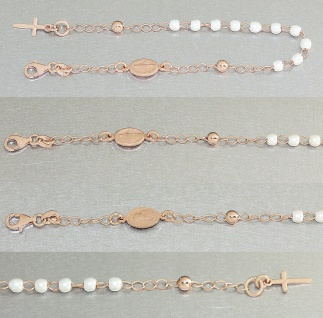 Rosenkranz Armband echt Silber 925 Rosegold vergoldet Perlen weiß Kreuz Mari3